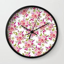 Elegant pink coral green watercolor roses pattern Wall Clock