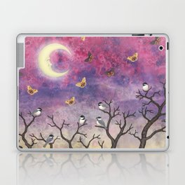 chickadees and io moths in the moonlit sky Laptop & iPad Skin