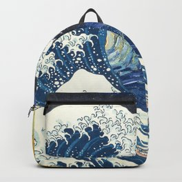 Starry Night Over The Great Wave Off Kanagawa Van Gogh/Hokusai Backpack