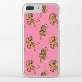 tiger print pink Clear iPhone Case