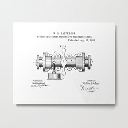 Hydrostatic Testing Machine for Telegraph Cables Vintage Patent Hand Drawing Metal Print