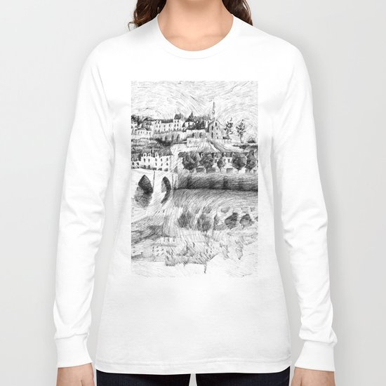 Terrasson village - France drawing Long Sleeve T-shirt