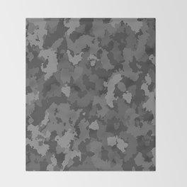 Camouflage Black Gray Throw Blanket