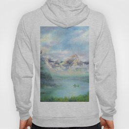 Morning in mountains. mountain landscape Hoody