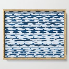 Glitch Waves - Classic Blue Serving Tray