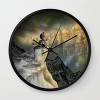 northern lights Wall Clocks featuring Northern Lights by Lyndsey Green Illustration