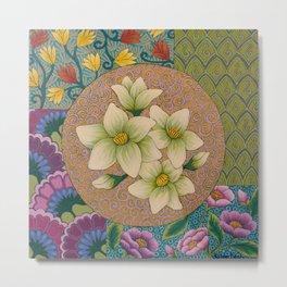 Jasmine Flower  Mandala  Metal Print