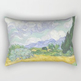 A Wheatfield with Cypresses by Vincent van Gogh Rectangular Pillow