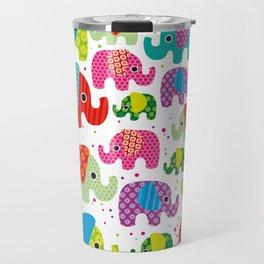 Colorful india elephant kids illustration pattern Travel Mug