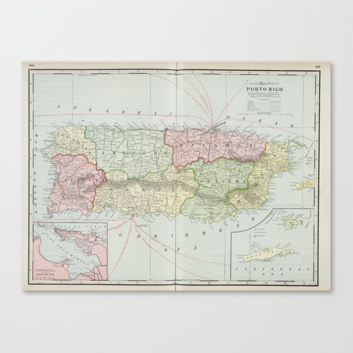 photo about Printable Maps of Puerto Rico named Traditional Map of Puerto Rico (1901) Canvas Print by means of bravuramedia