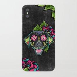 Labrador Retriever - Black Lab - Day of the Dead Sugar Skull Dog iPhone Case