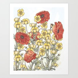Buttercup and poppy watercolour Art Print