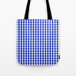 Cobalt Blue and White Gingham Check Plaid Squared Pattern Tote Bag