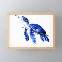 Blue Turtle, Cute turtle art, turtle design illustration Framed Mini Art Print