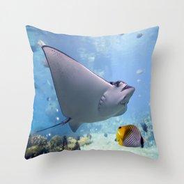 Coral Reef Manta Ray Throw Pillow