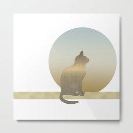 Chilled Gold Cat at Dawn Metal Print