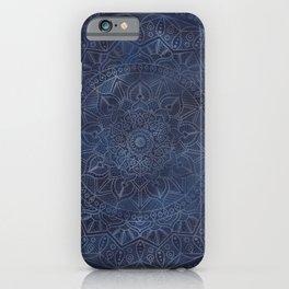 Vintage Circle of Life Mandala full color on blue swirl Distressed iPhone Case