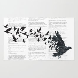 Vintage Style Print with Poem Text Edgar Alan Poe: Edgar Alan Crow Rug