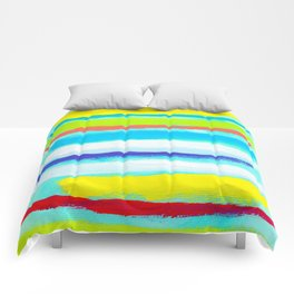 Ocean Blue Summer blue abstract painting stripes pattern beach tropical holiday california hawaii Comforters