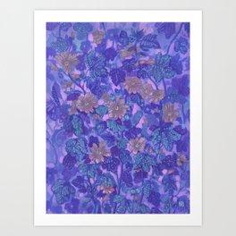 Mallow Bloom (Twilight Version), Summer Flowers Wildflowers Art Print