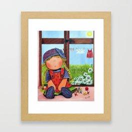 "Mia on ""Laundry Day"",Girl nursery Fine Art Print, Whimsical Art for girls, The Mia Collection Framed Art Print"