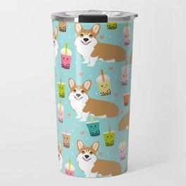 corgi boba tea bubble tea cute kawaii dog breed fabric welsh corgis dog gifts Travel Mug