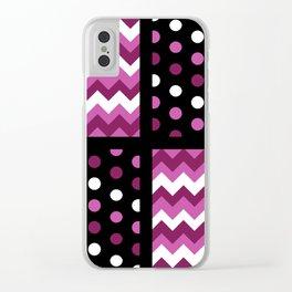 Black/Two-Tone Mulberry/White Chevron/Polkadot Clear iPhone Case