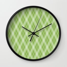Color of the Year 2017 Designer Colors Greenery Argyle Plaid Wall Clock