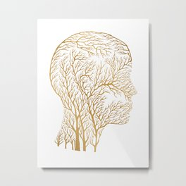 Head Profile Branches - Gold Metal Print