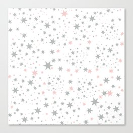 Stars silver and blush Canvas Print