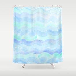 Water Color Ocean Wave Aqua Shower Curtain