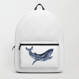 Dark Blue Watercolor Whale Backpack