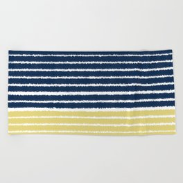Gold and Navy Blue brush Strokes Beach Towel