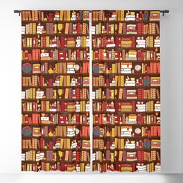Book Case Pattern - Red and Gold Blackout Curtain