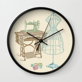 Vintage Dressmaker Illustration Wall Clock