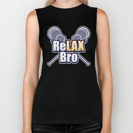 ReLAX Bro Lacrosse Player Lax Sticks athletic lacrosse lover Biker Tank