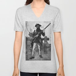 Blackbeard at attention with rifle Unisex V-Neck