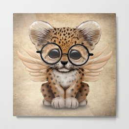 Cute Leopard Cub Fairy Wearing Glasses Metal Print