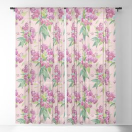 Pattern with pink flowers and leaves (Spiraea) Sheer Curtain
