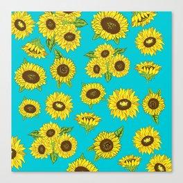 Sunflower Grunge Pattern Canvas Print
