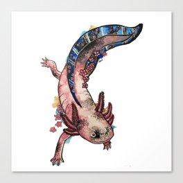Cherry Blossom Axolotl Watercolor Artwork Canvas Print