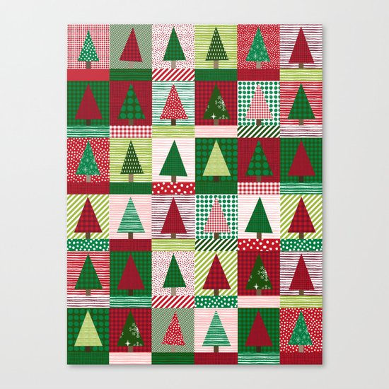 Christmas tree forest quilt pattern cute red and green for Red door design quilts