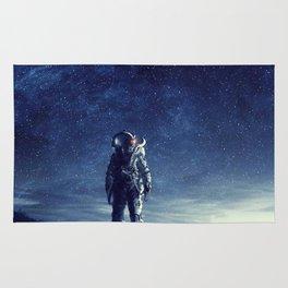galaxy astronaut Standing alone in Mars Rug