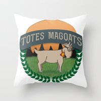 totes Throw Pillows featuring Totes Magoats by LaurenPyles