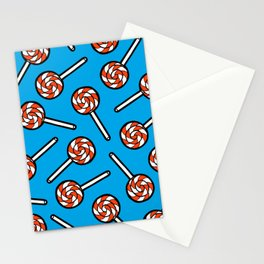 Red, white & blue lollipops pattern Stationery Cards
