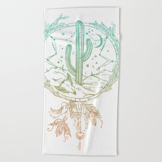 Desert Cactus Dreamcatcher Turquoise Coral Gradient on White Beach Towel