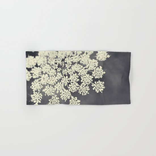 Black and White Queen Annes Lace Hand & Bath Towel