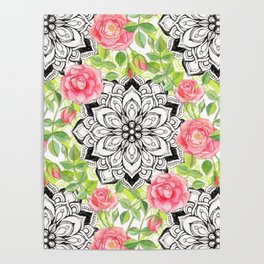 Peach Pink Roses and Mandalas on Lime Green and White Poster