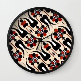 Vintage Grecian Geometric Pattern and Design in Orange and Black Wall Clock