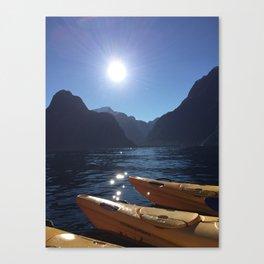 Kayaking in Milford Canvas Print